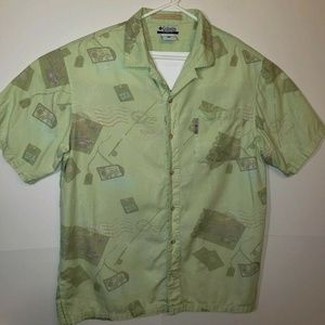Columbia River Lodge Green Patterned Button Down